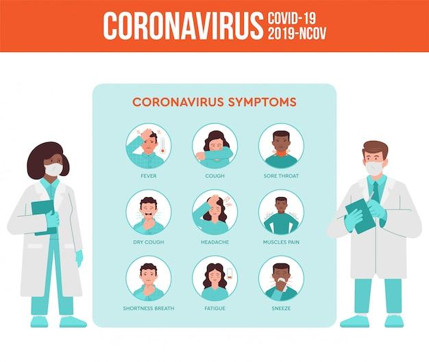 医師と看護師の2人の医者がコロナウイルスの症状、人々の検疫パンデミック状況について話します。 covid-19、2019-ncovウイルスは、インフォグラフィックの説明を設定しました。フラットなデザインのモダンなイラスト
