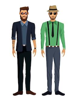 二人の男性は、帽子の太陽の眼鏡の入れ墨を見て髭をひそめ