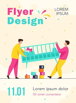 Two men carrying new child cot flyer template