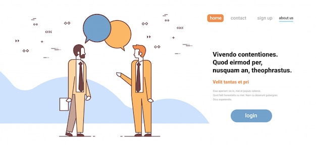 Two men discussing business meeting chat bubble speech colleagues communication concept male cartoon characters full length horizontal copy space