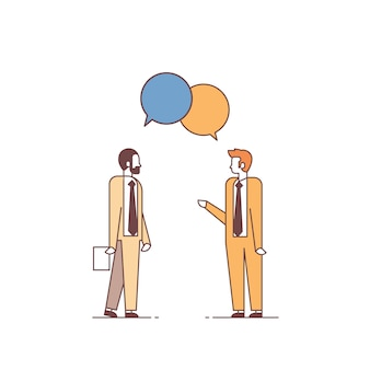 Two men discussing business meeting chat bubble speech colleagues communication concept male cartoon characters full length