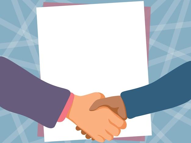 空の紙の背景で描く2人の男性が握手し、合意の紳士の手を提示します。