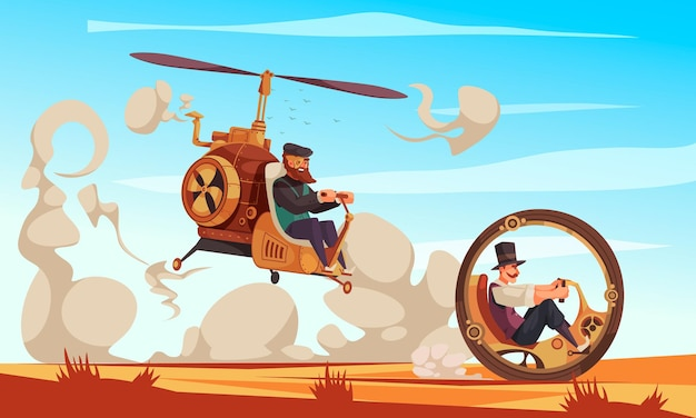 Two men driving vintage steampunk monowheel and flying car with rotor cartoon illustration
