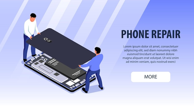 Two men from computer repair service fixing smartphone isometric banner