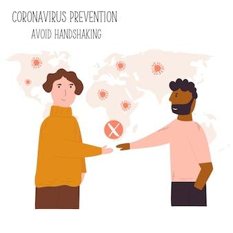악수를 하려고 하는 두 남자. 코로나바이러스 확산 방지를 위한 권고