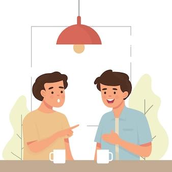 Двое мужчин сплетничают в кафе