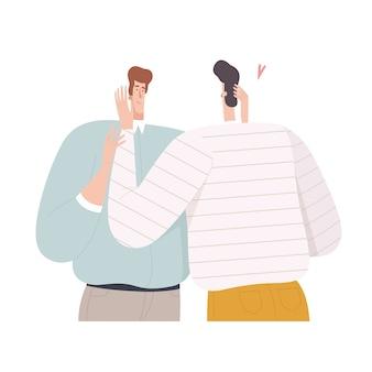 二人の男が抱き合ってフラットなデザインで目を覗き込む
