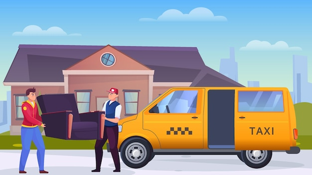 Two men loading a chair into a cargo taxi flat illustration
