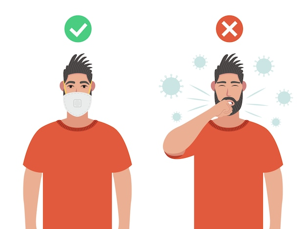 Two men. one with protective mask and one without. concept about health, hygiene, hospitality, sickness, disease, protection, pollution and etc. coronavirus prevention