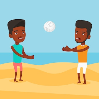 Two men playing beach volleyball.