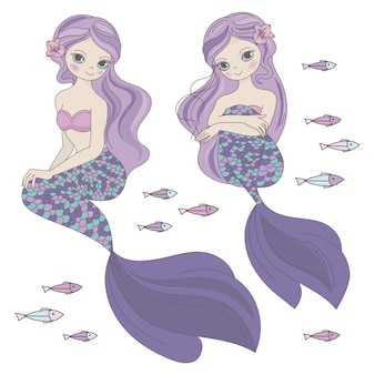 Two mermaids sea ocean travel princess