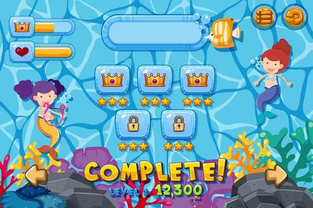 Two mermaids underwater on game template