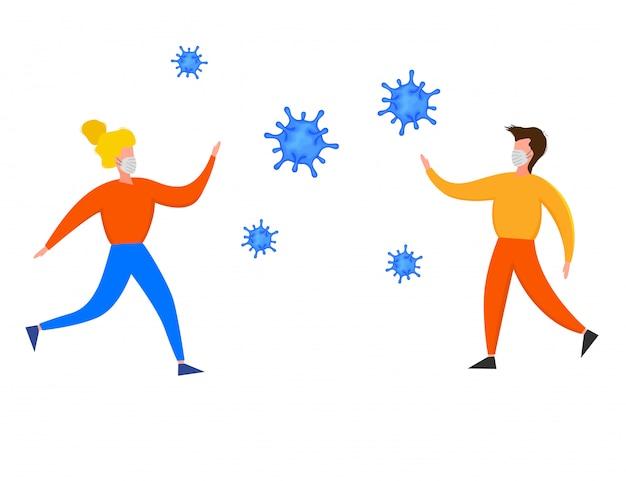 흰색 배경에 고립 된 코로나 바이러스 2019-ncov 발생 중 사람들 사이의 2 미터 안전 거리. 유행성 역학 개념. 평면 그림