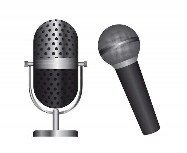 Two microphone isolated over white background