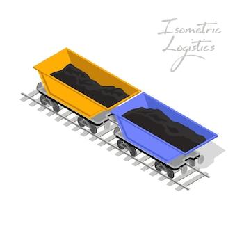 두 개의 광산 수레, 철도 트럭 노란색과 파란색이 철도에 있습니다.