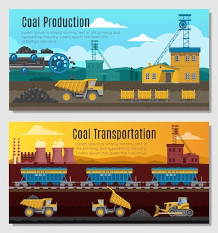 Two mining industry horizontal banners set with coal extracting
