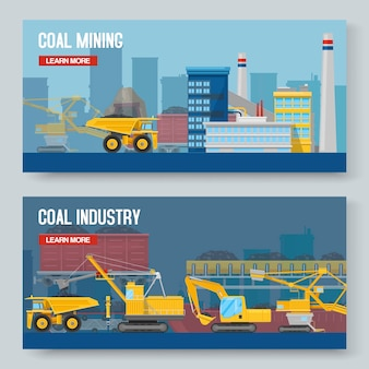 Two mining industry horizontal banners set
