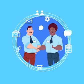Two mix race business men handshake   chat icons agreement concept