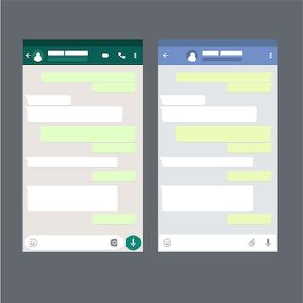 Two mobile messenger mockups