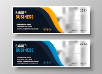 Two modern business banners with image space