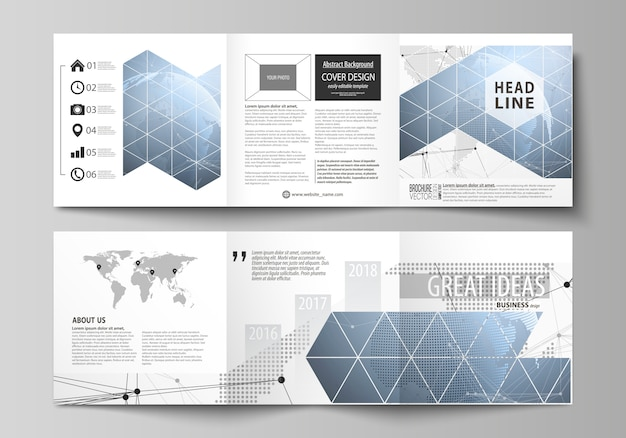 Two modern creative covers design templates for square brochure or flyer.