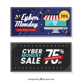 Two modern cyber monday banners