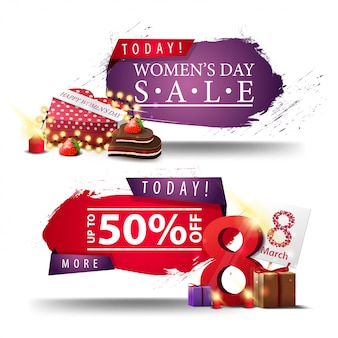 Two modern discount women's day banners with buttons