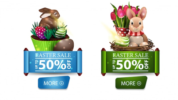 Two modern easter sale banners with buttons