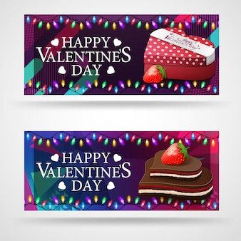 Two modern greeting banners for valentine's day with chocolates in the form of hearts