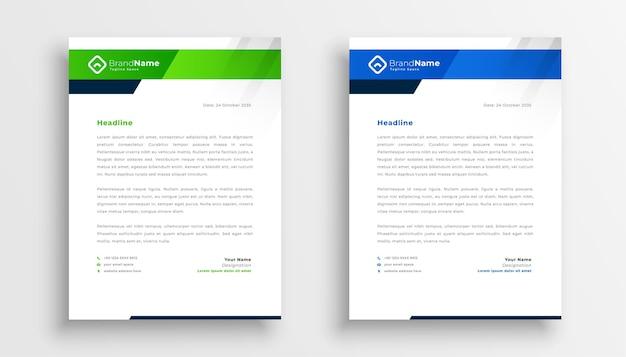 Due design moderno modello di carta intestata per identità aziendale