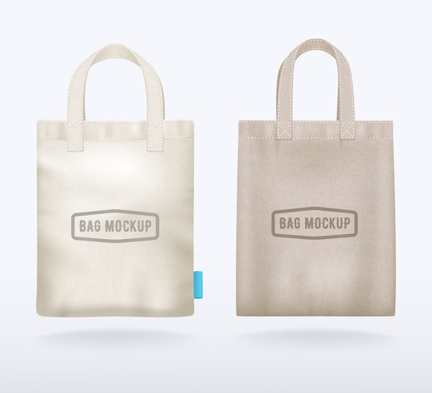 Two modern natural canvas mockup shopping bags realistic templates