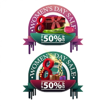 Two modern round discount banners to the women's day