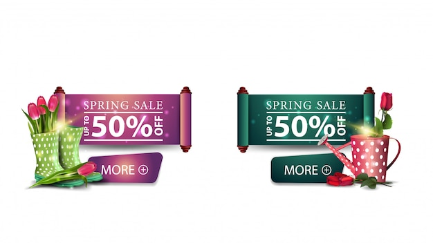 Two modern spring sale banners with tulips and rose