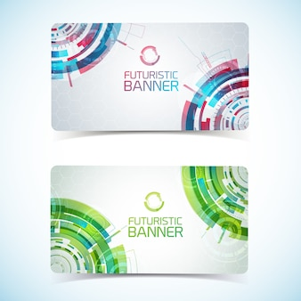 Two modern virtual technology club card or business card
