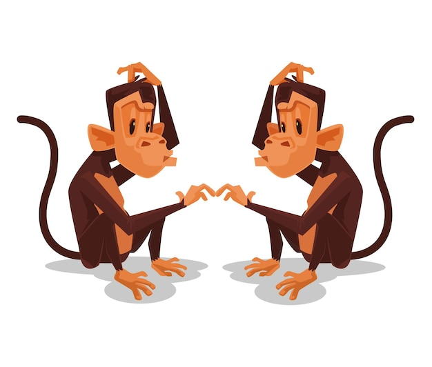 Two monkey look at each other cartoon illustration