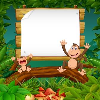 숲에서 빈 종이 배경으로 두 원숭이