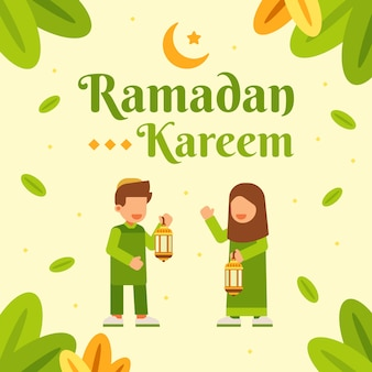 Two moslem kids in ramadan kareem background