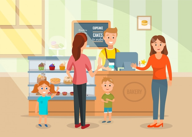 Two mothers and kids at bakery shop illustration