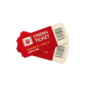 2つの映画のチケットはリアルなスタイルのイラストをベクトルします。 eps 10