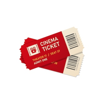 Two movie tickets vector illustration in realistic style. eps 10