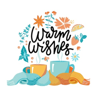 Two mugs in scarf. cozy composition of 2 cups with lettering warm wishes.