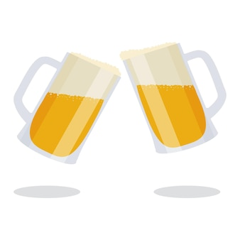 Two mugs with beer and foam. beer mugs.