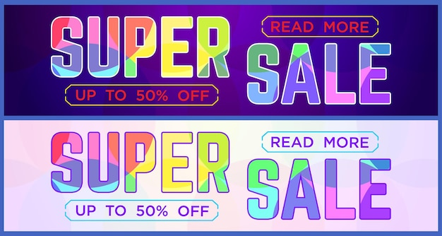 Two multicolor super sale banner for website sale and discounts banner