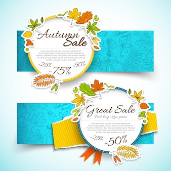 Two multicolored horizontal autumn and sale banner set with text in big rounds
