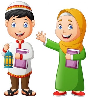 Two muslim kids carrying ramadan lanterns and al-quran.   illustration