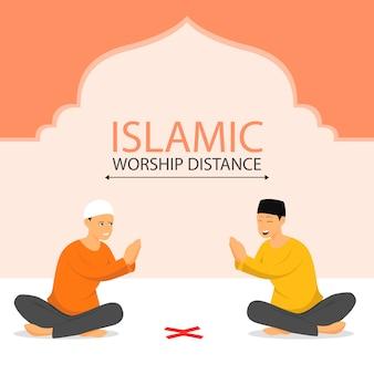 距離、社会的距離、コロナウイルスを維持しながら握手する2人のイスラム教徒の男性。