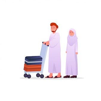 Two muslims couple wearing ihram