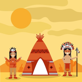 Two native american people with teepee and desert landscape