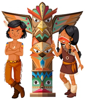 Two native americans and totem pole