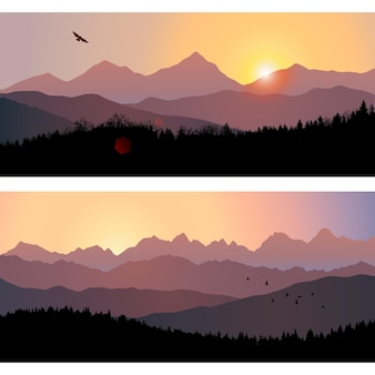 日の出の山と森のシルエットと2つの自然の風景ベクトル図